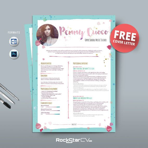 Resume Template + Free Cover Letter, Teacher Resume, Word Resume
