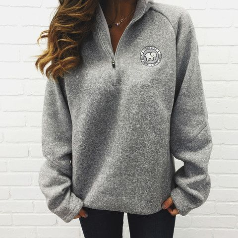 49c6bed3b83a Grey Heathered Quarter Zip. Grey Heathered Quarter Zip Ivory Ella Sweatshirt  ...