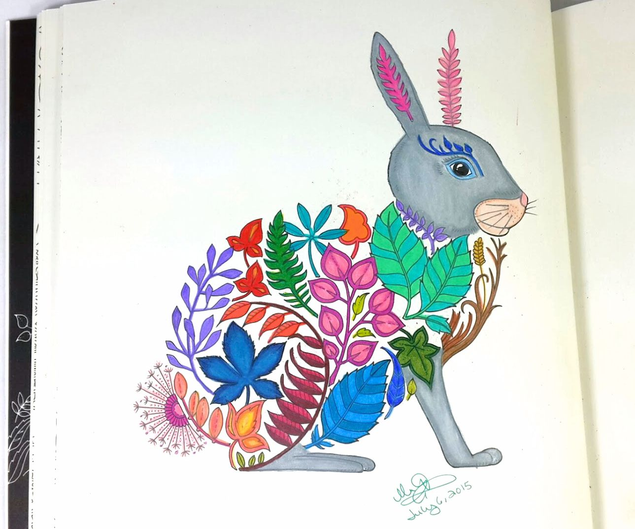 Completely Coloring Page Of Floral Bunny Rabbit From The