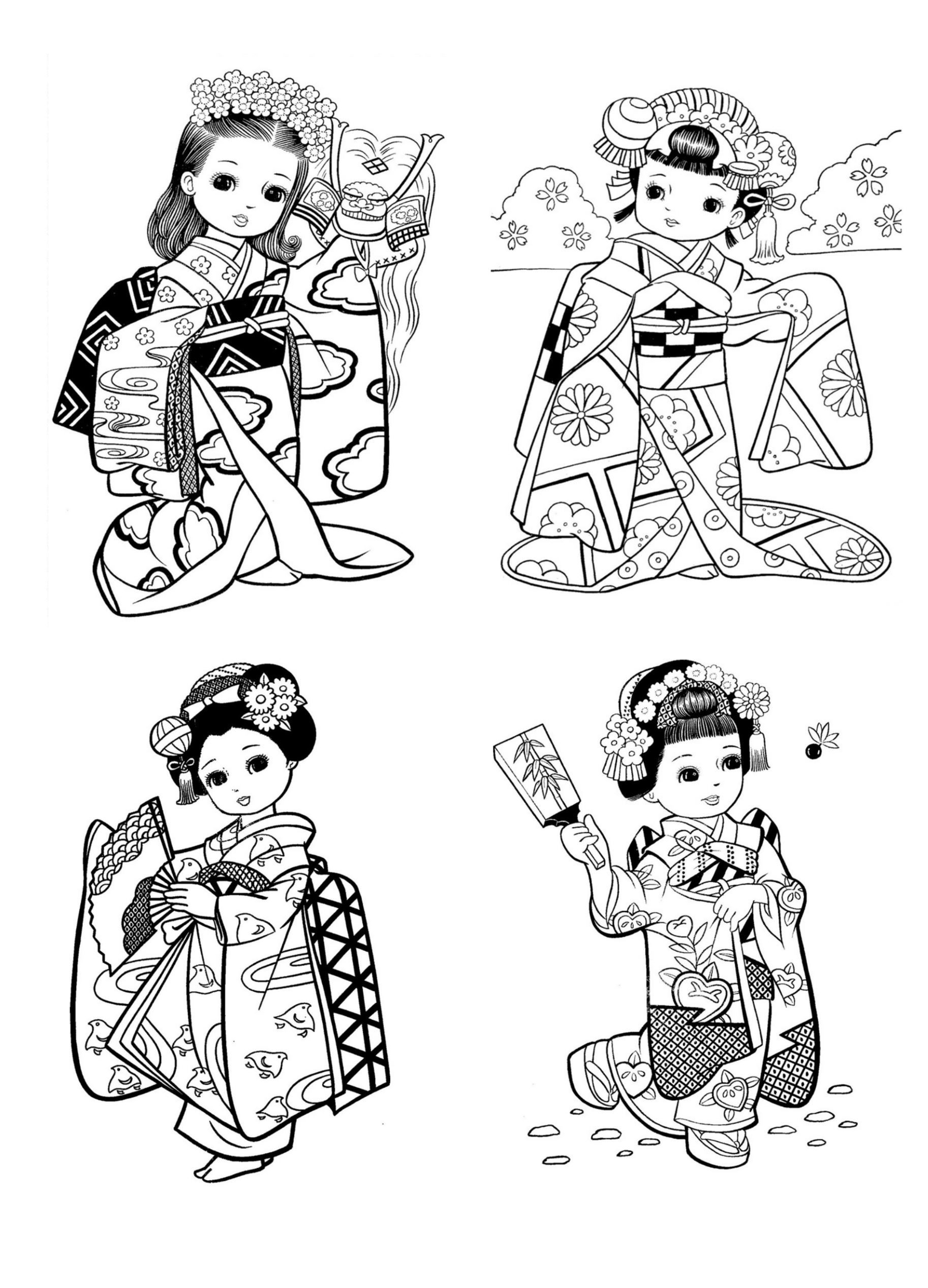 Little Japanese Child Style Drawing Japan Coloring Pages For