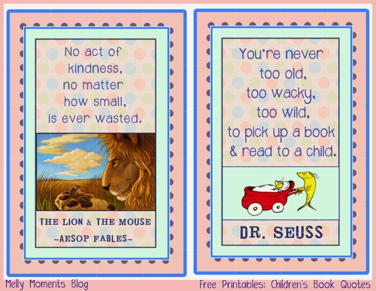 Dr Seuss And Aesop Fables Quotes Free 4x6 Prints For A Storybook Baby Shower Theme