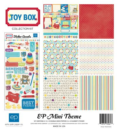 Echo Park: Toy Box paper & sticker collection...what fun for a vintage toy 1st birthday party!