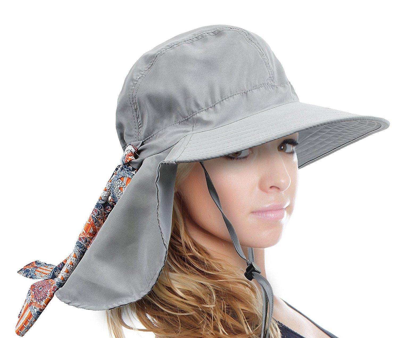 Women S Safari Sun Hat With Neck Flap Large Brim Packable Summer Beach Fishing Cap Grey Co1889grdcc Hats For Women Sun Hats For Women Large Brim Sun Hat