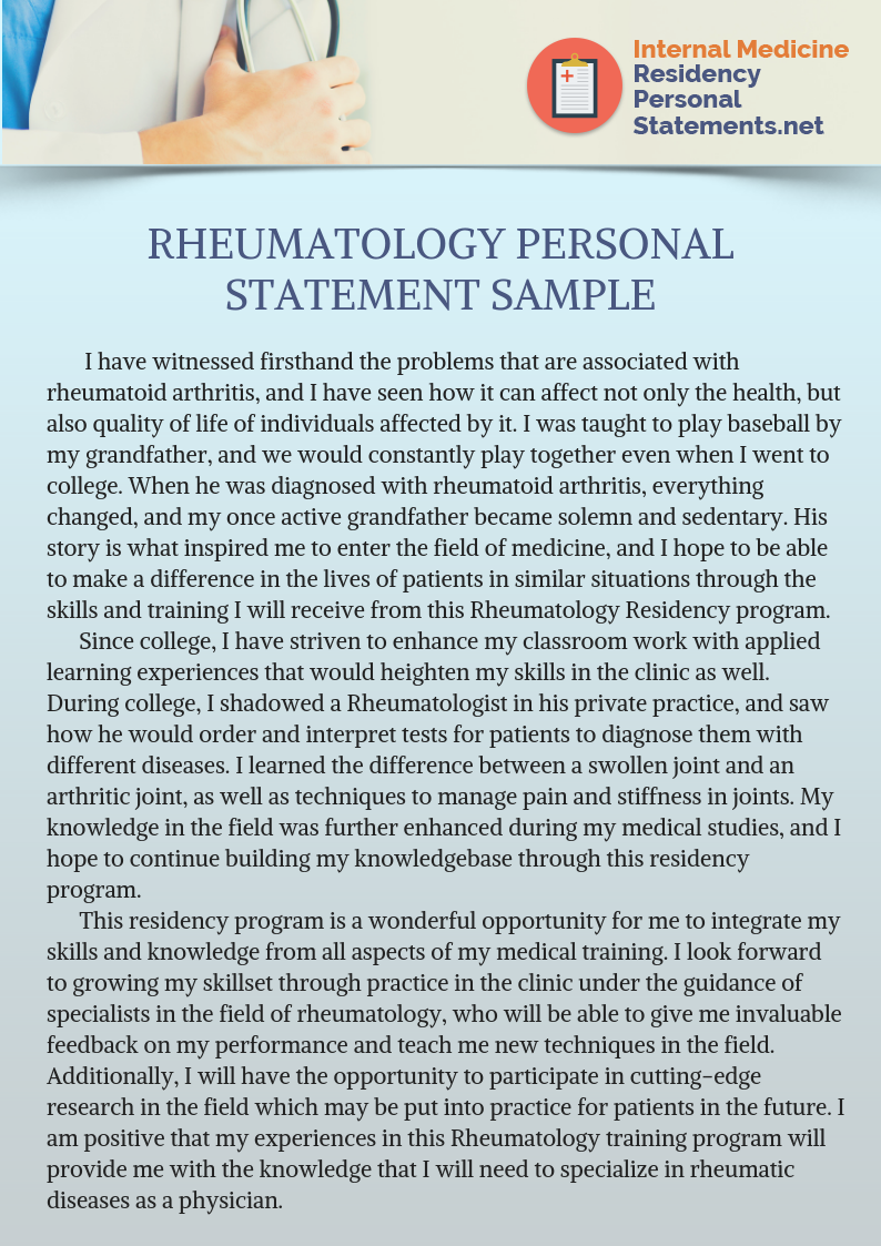 Rheumatology Fellowship Personal Statement To Get You Noticed Person Gi Sample