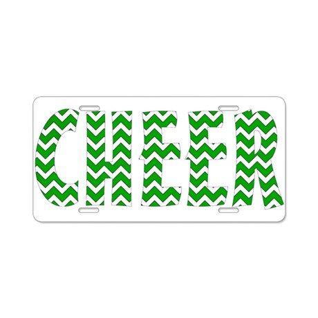 Green Chevron Cheer Aluminum License Plate  #cheer #cheerleader #giftideas #allstars #cheerleading #allstars  #forteens # #chevron #license #licenseplate #holder