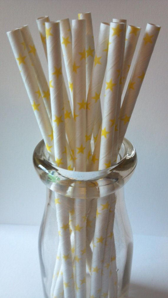 Yellow Star Paper Straws 25 pieces perfect by AisforApronStrings, $4.25