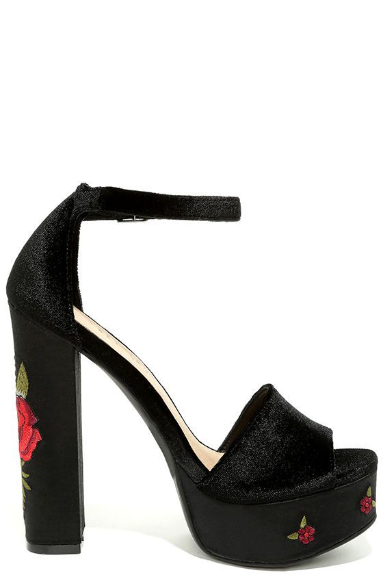 7fb2ef5f175 We are all singing the praises of the Chinese Laundry Ariana Black Velvet  Platform Heels! These stunning platforms have a velvet peep-toe upper