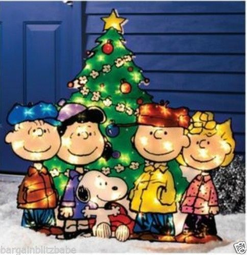 Lighted Christmas Tree Snoopy Peanuts Gang Toys Holiday Yard Outdoor Lights Gift Ebay