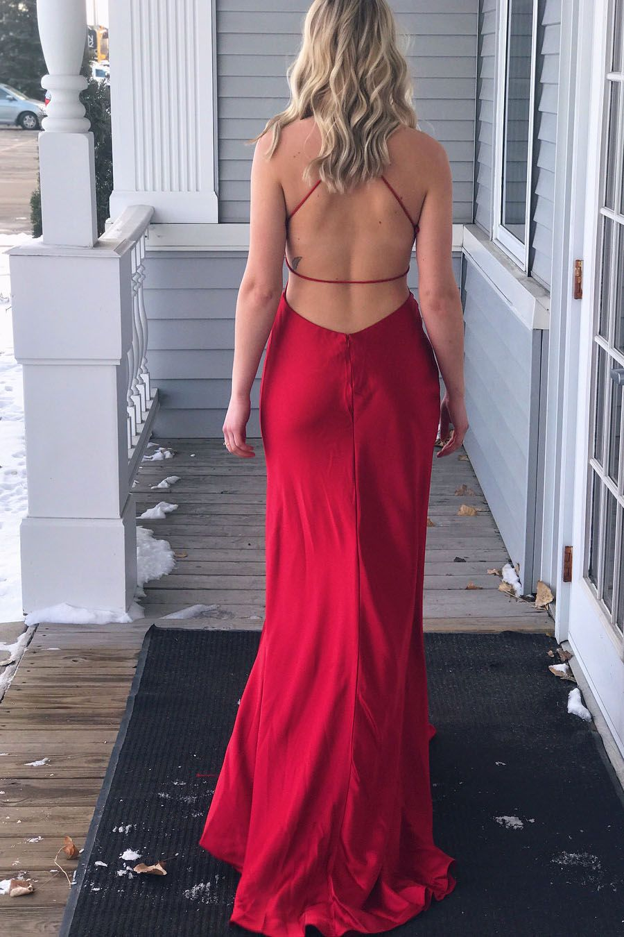 Simply gorgeous red long prom dress with side slit in fashion