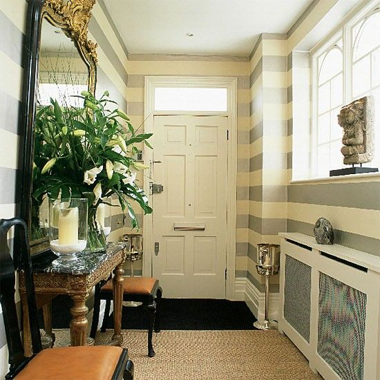 Hallway With Bold Striped Wallpaper