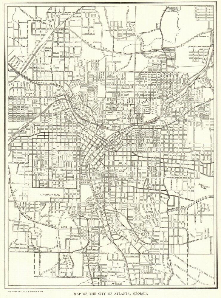 1911 Antique Atlanta Georgia City Map Street Map Of Atlanta Georgia 8013 In 2020 Atlanta Map Street Map Vintage Map