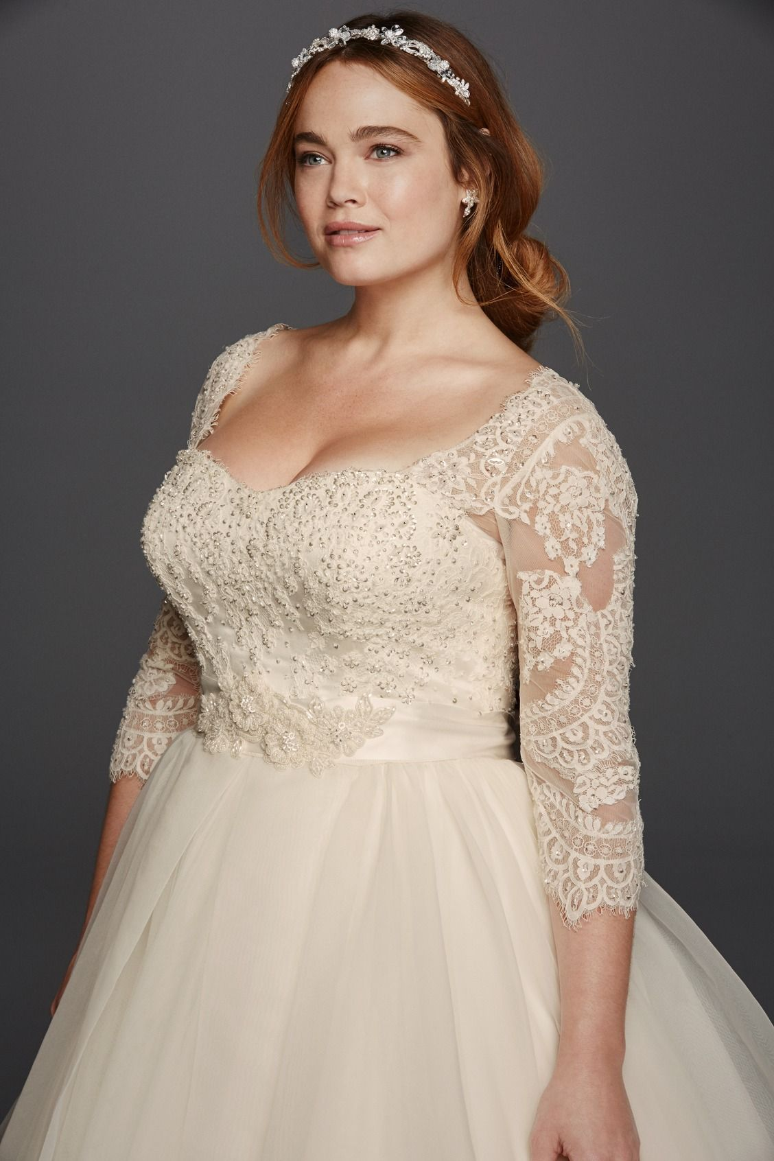 Oleg cassini plus size three quarter lace sleeves and a for Plus size lace wedding dresses with sleeves