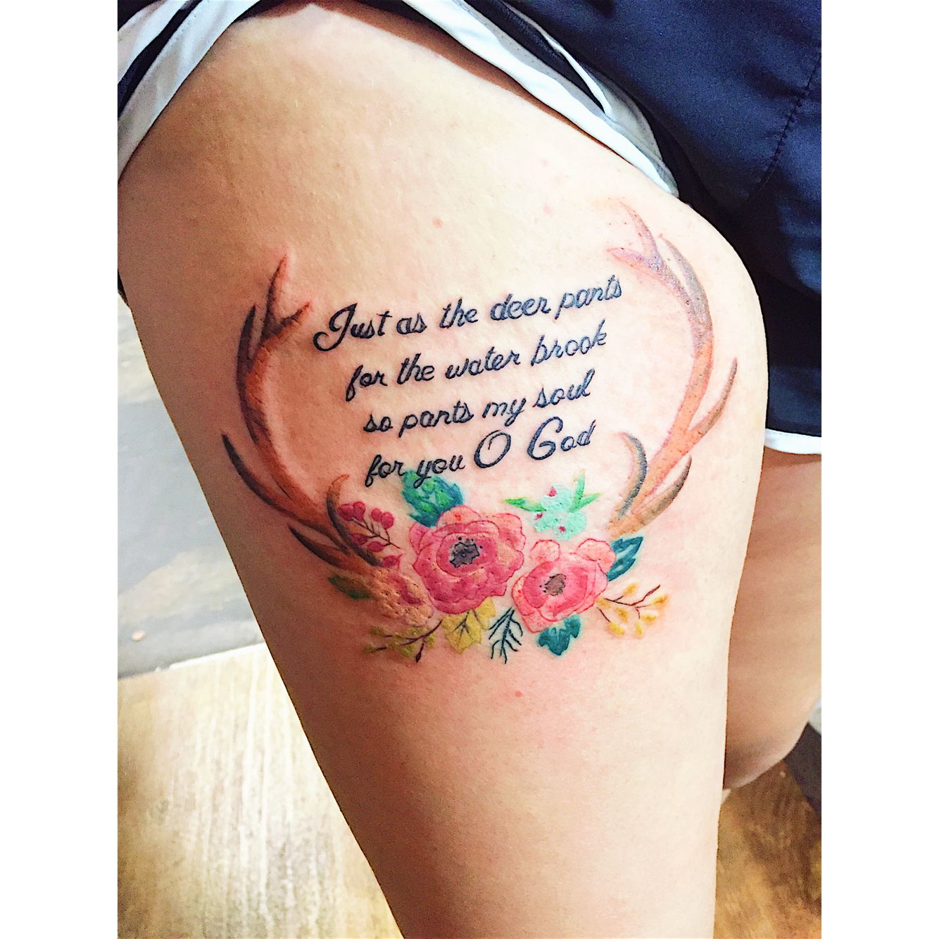 "Floral Antler Tattoo: Lyrics From Matt Gilman's ""as The Deer"" Also From Psalms"