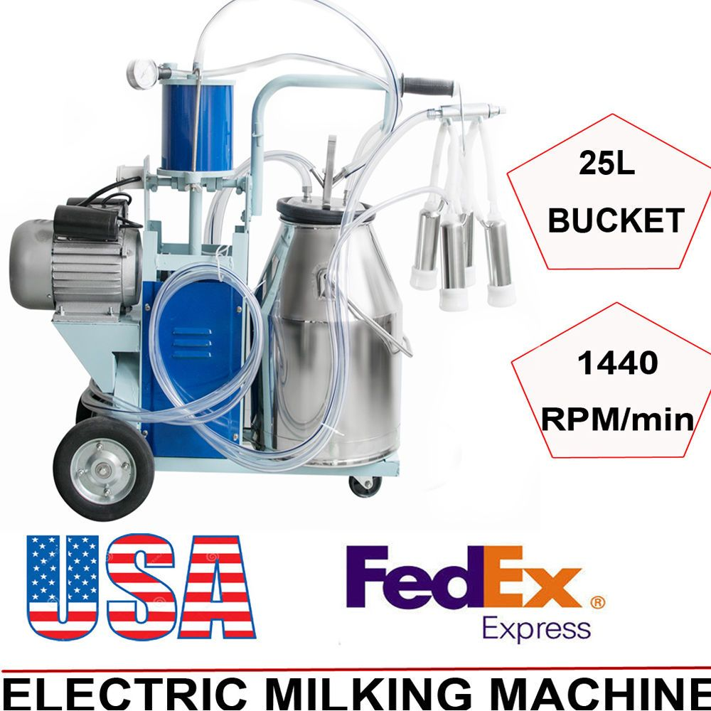 Electric Milking Machine Milk Milker Piston Pump Dairy Equipment Brand New