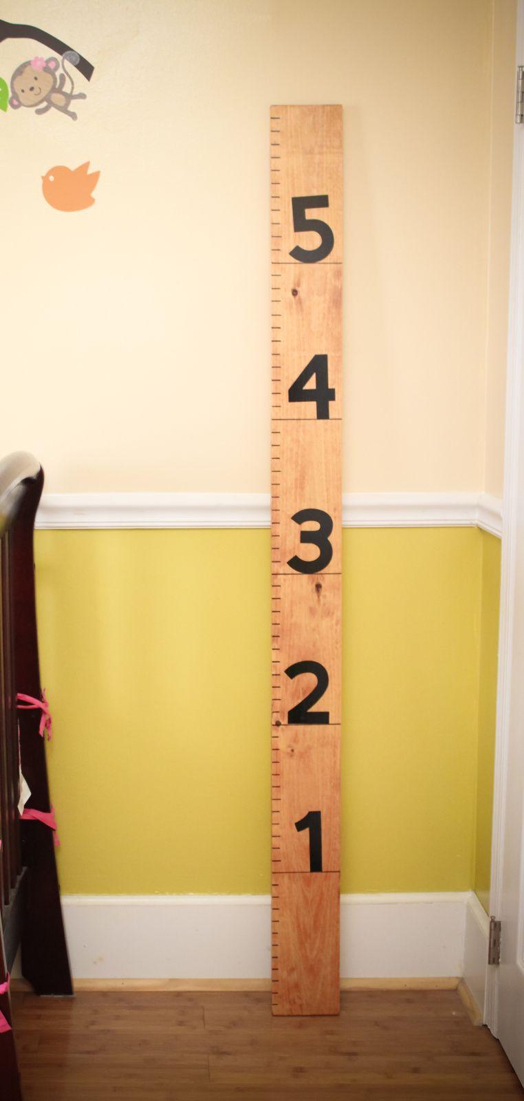 DIY Ruler Growth Chart Growth chart ruler, Kids wood, Diy