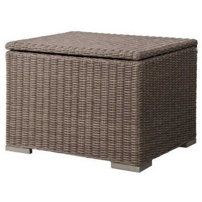 Strange 143Threshold Heatherstone Wicker Patio Sectional Storage Machost Co Dining Chair Design Ideas Machostcouk