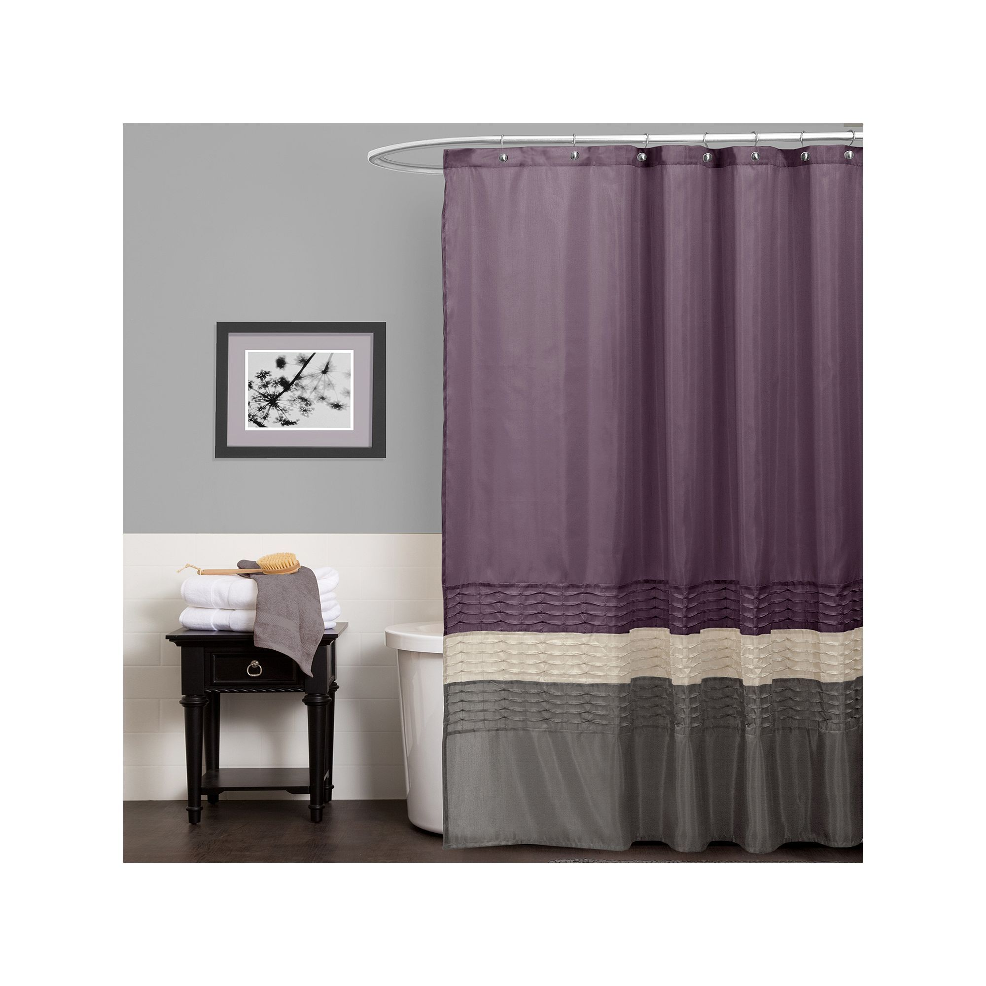 Lush Decor Mia Fabric Shower Curtain Purple