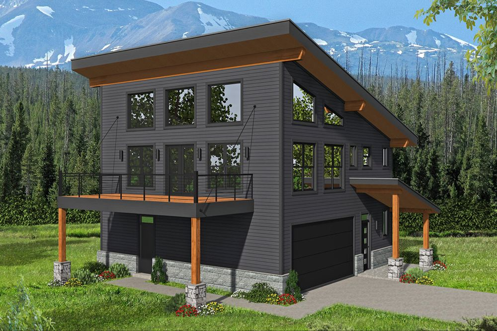 Plan 68633VR: 3-Bed Modern Mountain Home with Artist's Loft