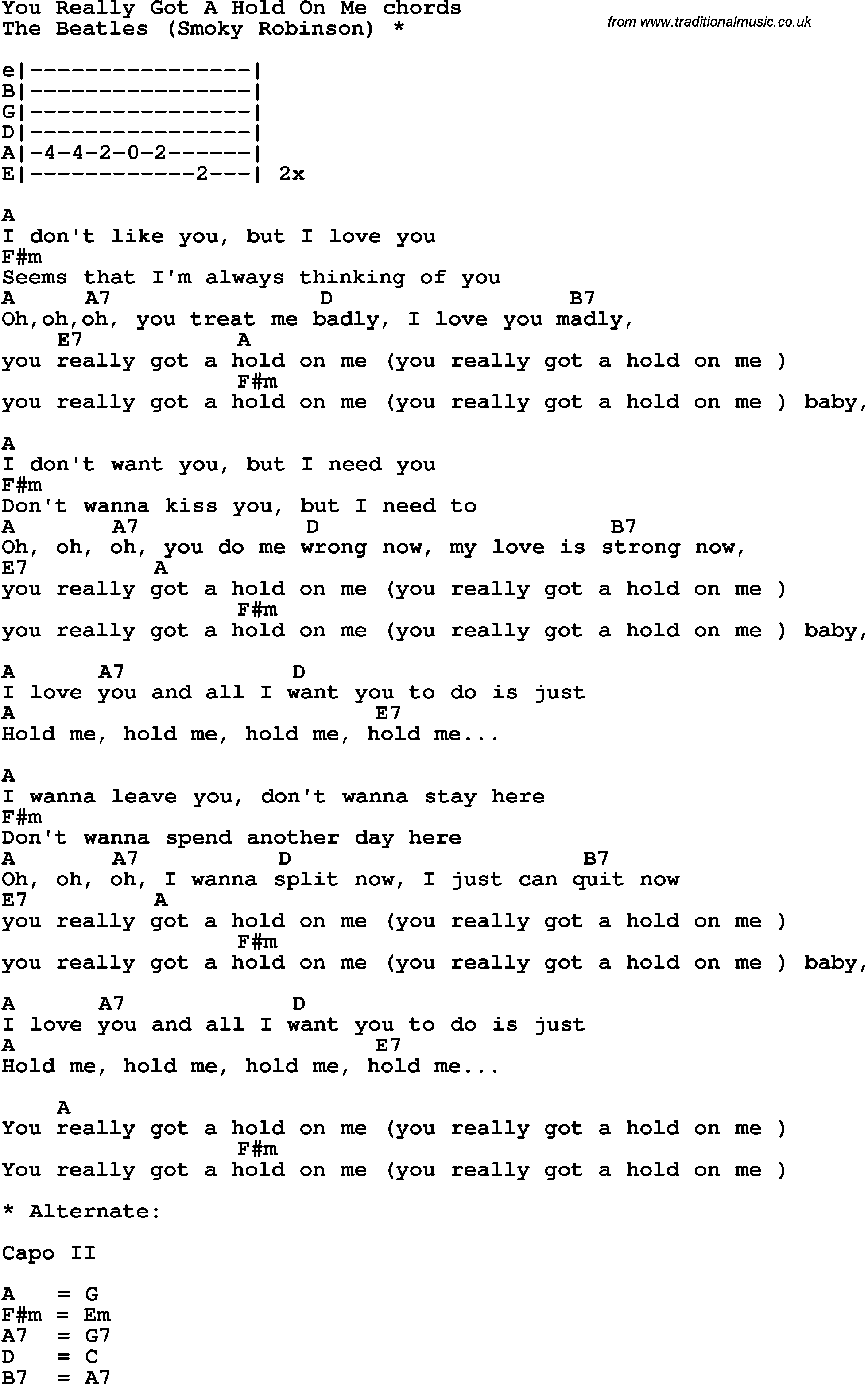 Song Lyrics With Guitar Chords For You Really Got A Hold On Me The