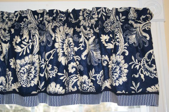 Chesapeake Waverly Navy Blue Beige Floral Toile Valance Navy Blue Curtains Valance Curtains Blue Curtains