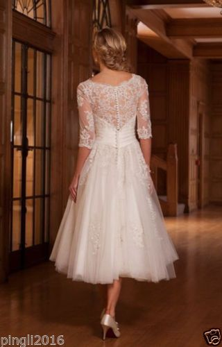 c7f7d091fcc06 New-White-Ivory-Short-Lace-Wedding-Dress-Bridal-Gowns-Size-UK-6-8 -10-12-14-16-18