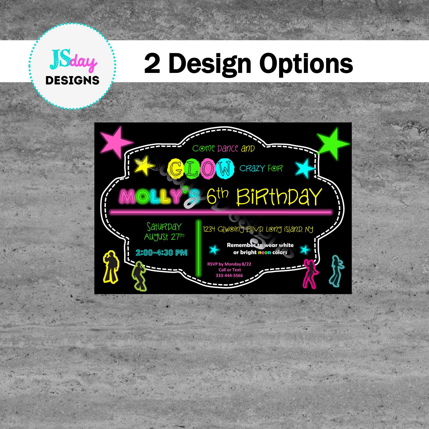 Glow party invite; glow in the dark birthday; dance invitation; girl ...