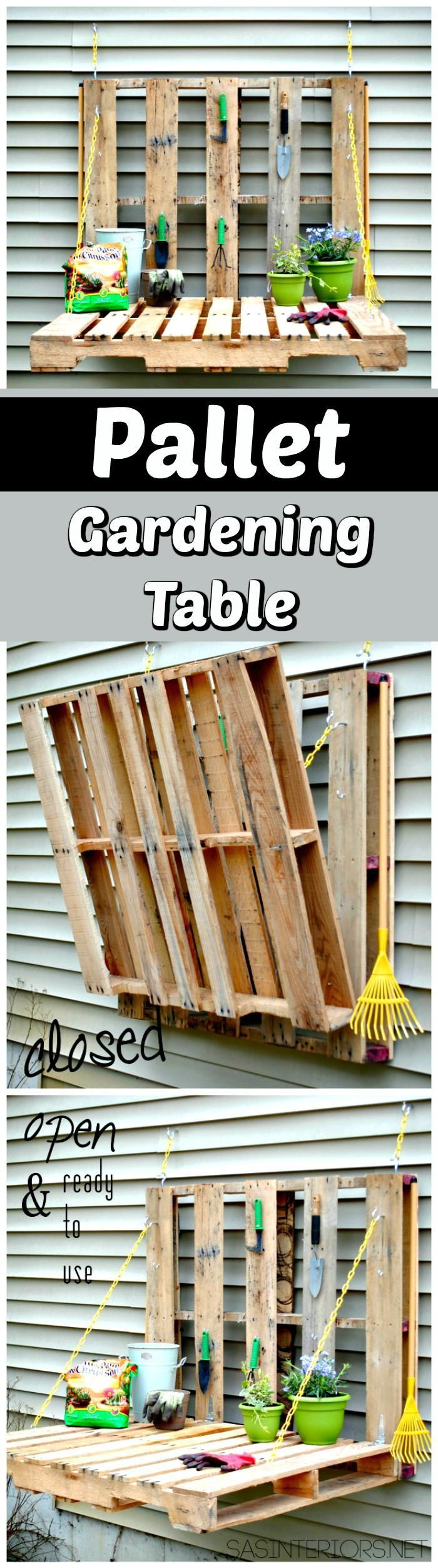Wall Hanging Folding Out Pallet Gardening Table - 150 Best DIY Pallet Projects a... #kräutergartenpalette