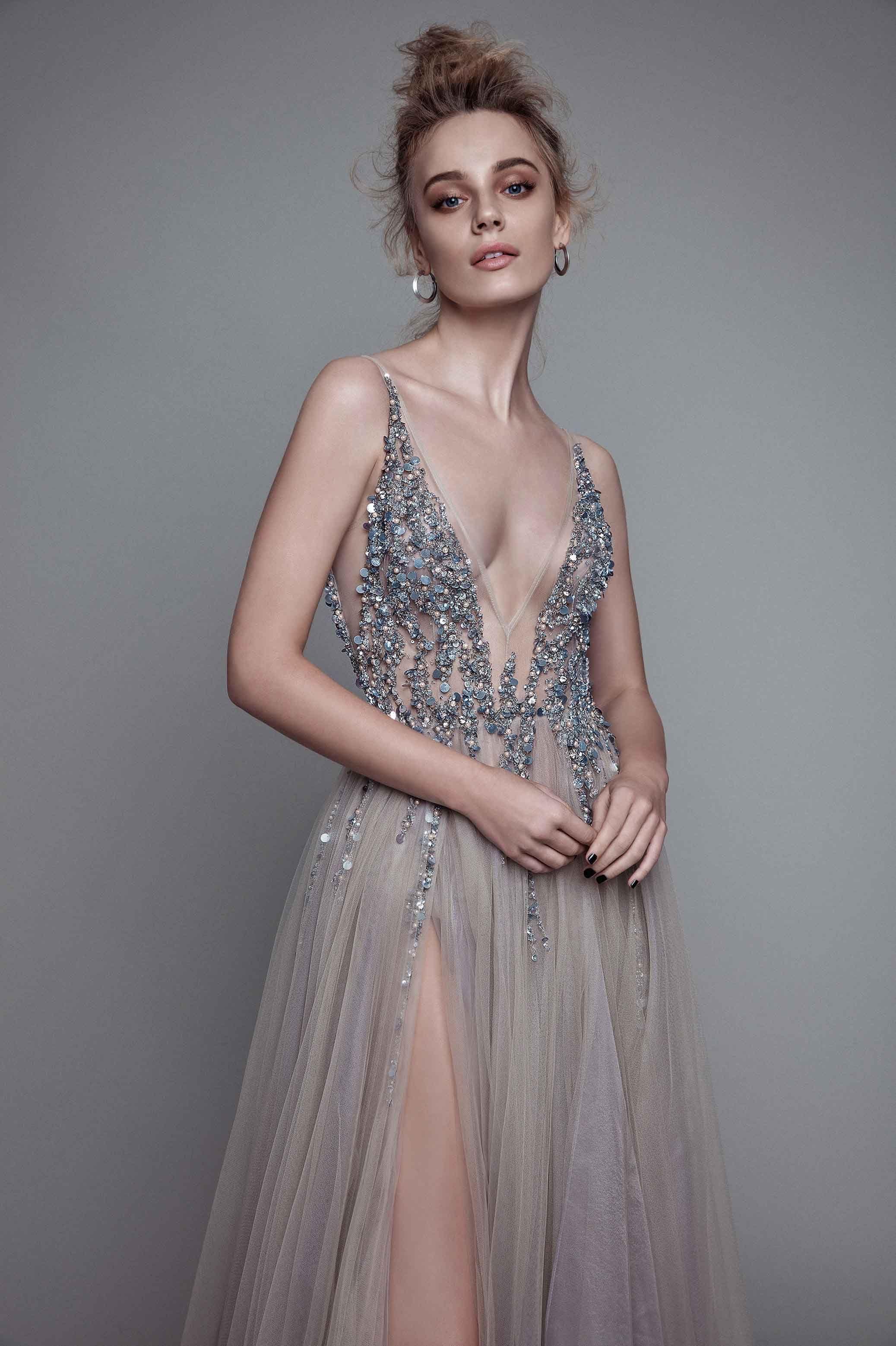 Ball gown gray prom dresses grey loncharming prom dresslongsleeves