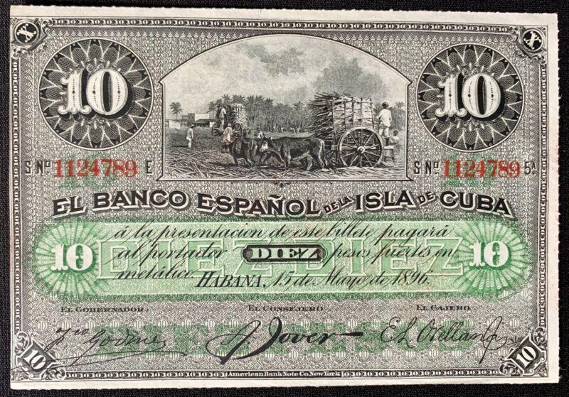 Collecters Item Spain 10 Peso 1896 Unc (Caribbean Big