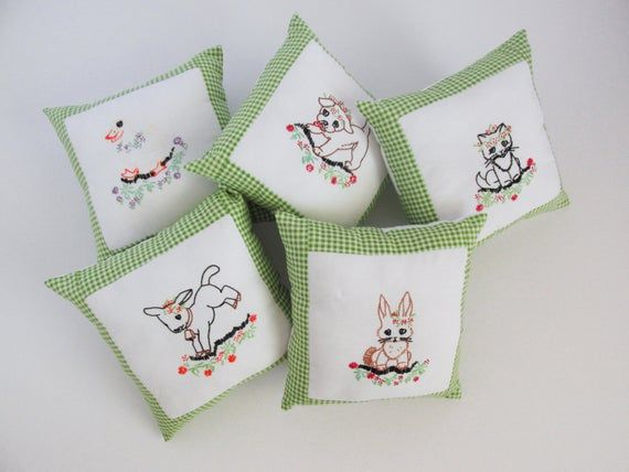 """10x10"""" Embroidered throw pillow made from a vintage coverlet. Farm animal nursery decor. Unisex baby shower gift. Limited quantity. Handmade"""