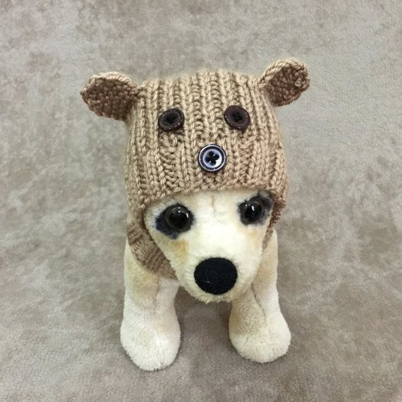 Pet Clothes Apparel Outfit Knit Teddy Bear Hat for Small Dog Hand ...