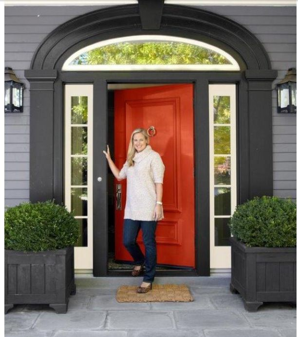 Grey Siding With Black Trim White Accent And Red Orange Door Large Time Walk Way Cool Lights Bushes