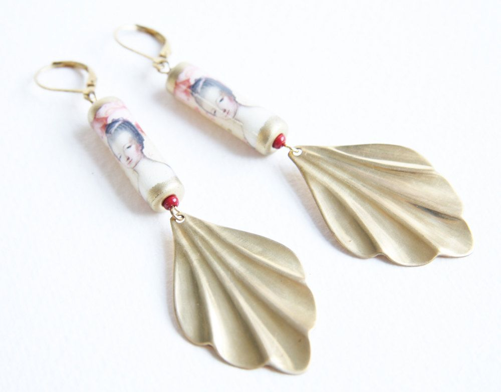 Marie Antoinette Fan Earrings with Handmade Paper Beads and Brass Stampings by…