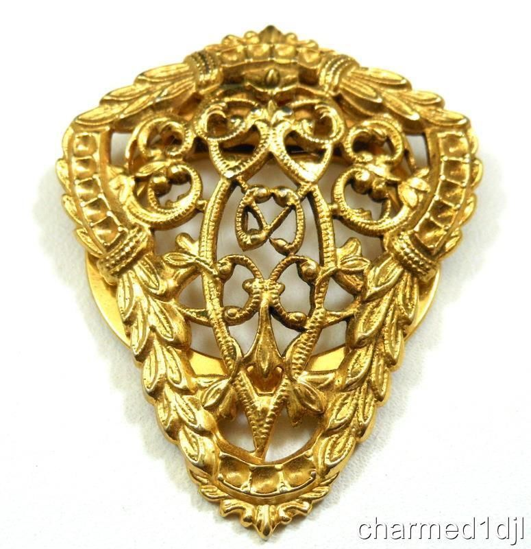 Art Deco/Nouveau Style Filigree Scarf Clip Gold Tone Lieba Made in USA Gorgeous! #Lieba SOLD
