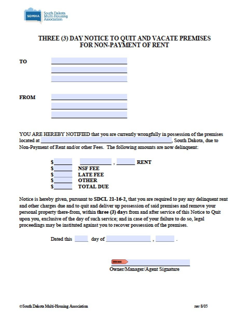 South Dakota  Day Notice To Quit  Pdf  Word  Rental Forms