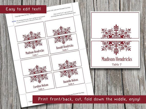 Wedding Place Card Template Winter Wedding Burgundy Red Escort - Wedding place card template word