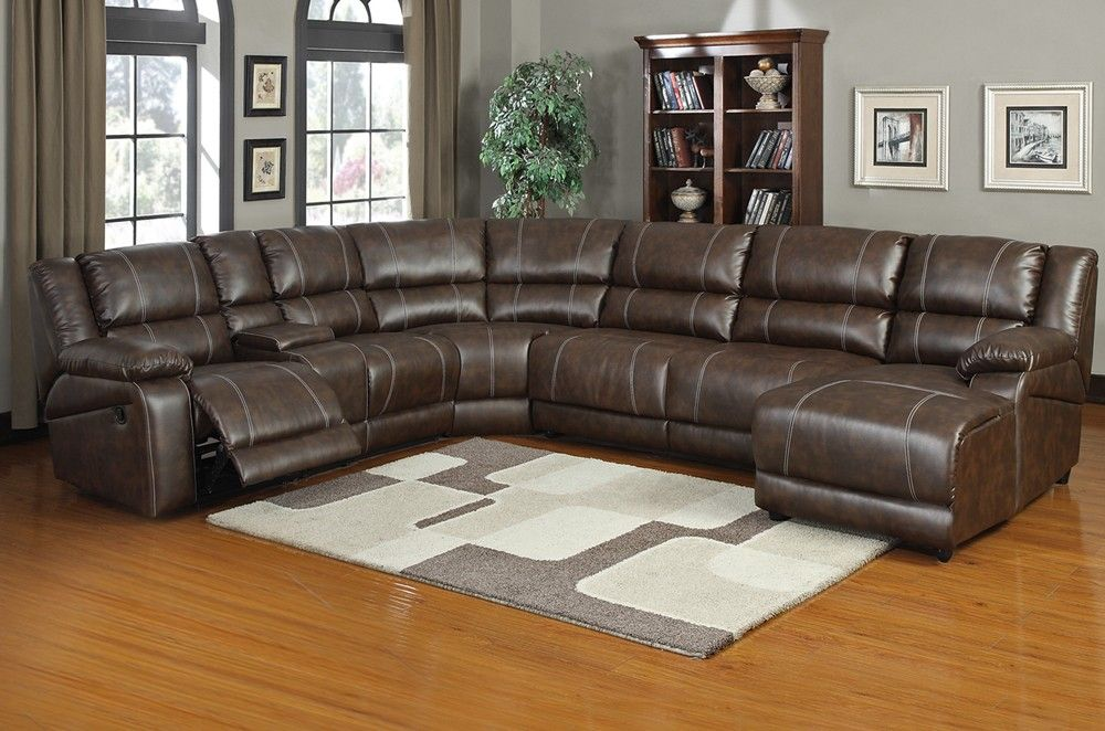 UFE Robinson Sectional Sofa with Recliner Chaise Console wCup
