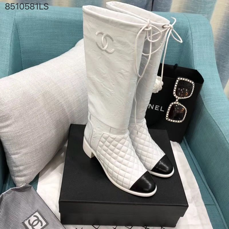 a3d009b252b Chanel CC woman quilted winkle leather knee high long boots white ...