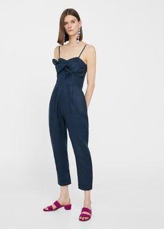Vestido lino azul mango