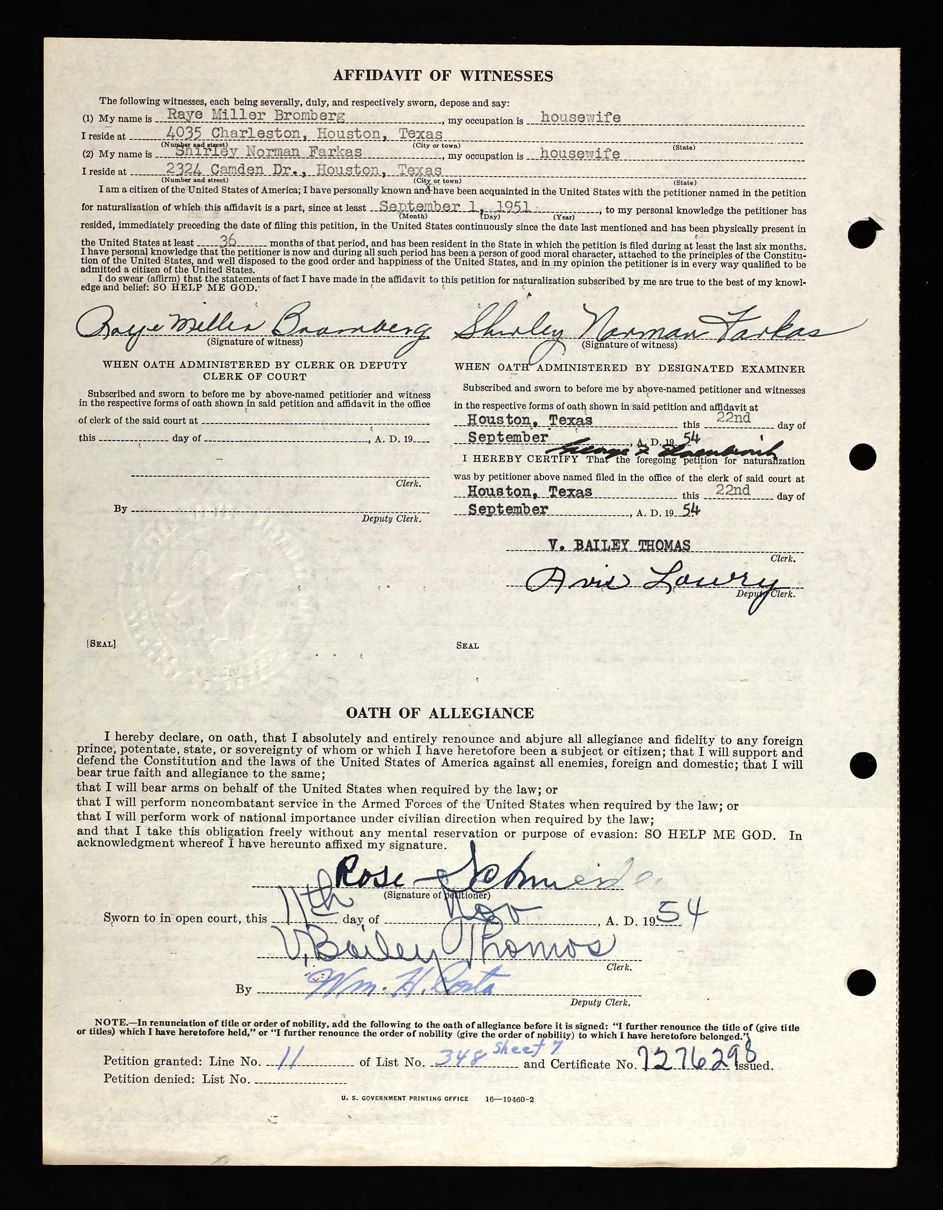 Texas Naturalization Records 1881 1992 Name Rifke Blum Schneider Rose Schneider Pg 2 Sheet Music