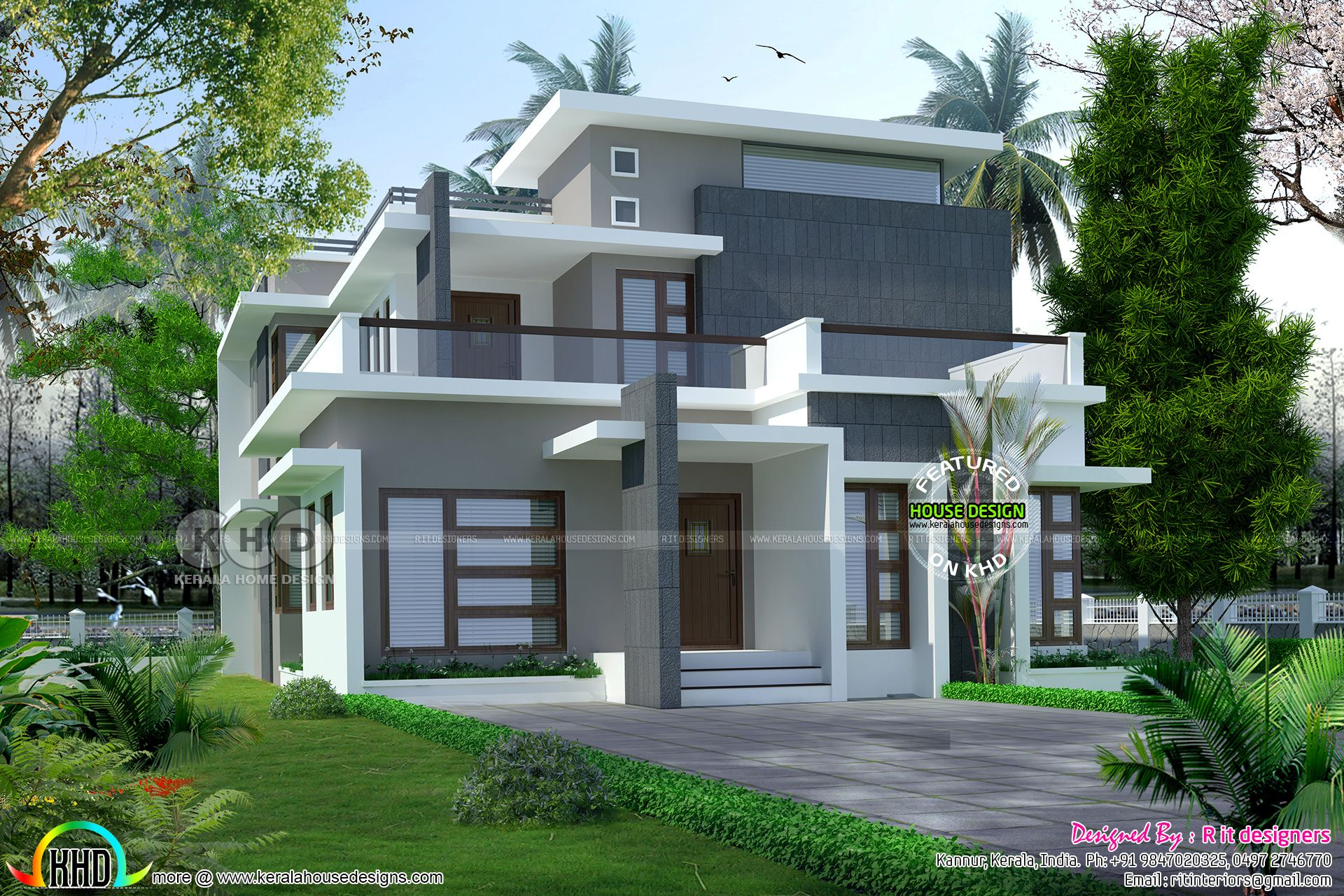 Attractive R It Designers (home Design In Kannur) Part - 3: 2238 Square Feet, 4 Bedroom Stylish Contemporary House Architecture By R It  Designers, Kannur, Kerala.