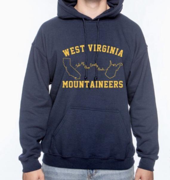 WVU Mountaineers Take Me Home Country Roads - San Diego to Morgantown - Hoodie Sweatshirt