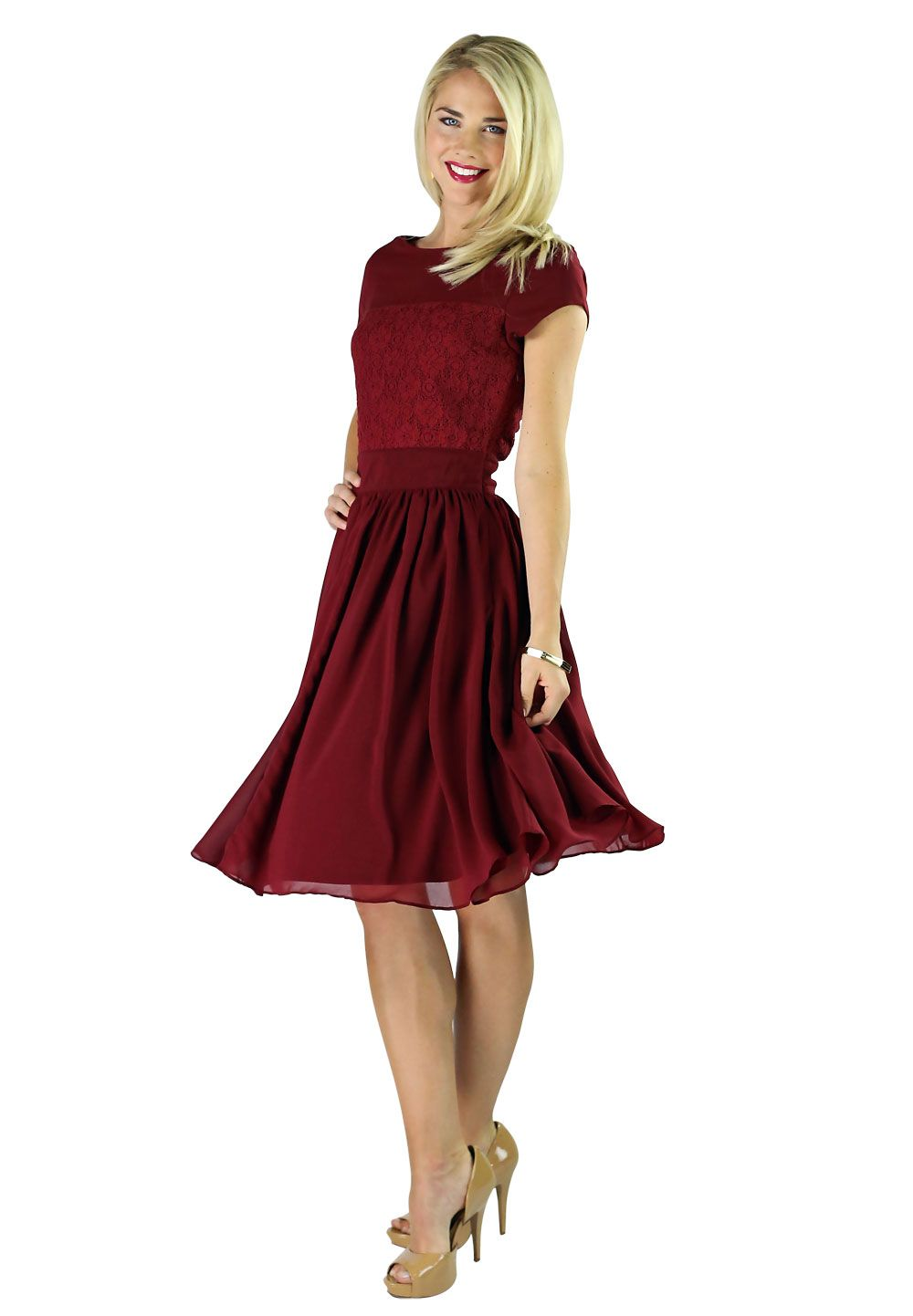 Isabel modest dress in deep red 3g 10001442 kristjn rn modest knee length a line dress with sleeves in berry red lace modest bridesmaid dress mother of the bride dress or prom dress in red ombrellifo Image collections