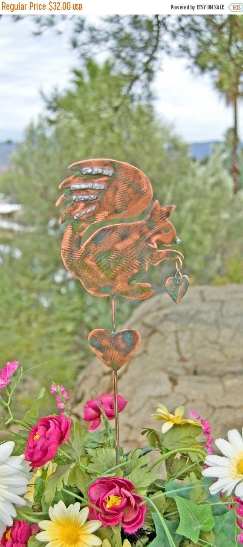SALE Squirrel Decor Garden Stake / Metal Garden Art / Yard Art