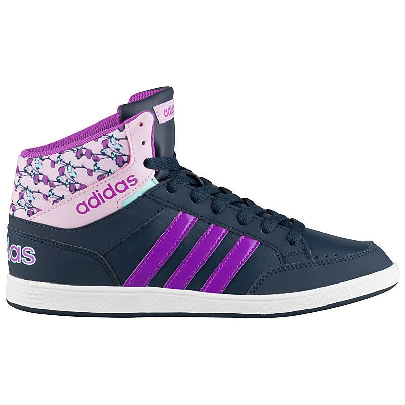 size 40 38462 72fcc adidas Women Hoops Mid Sneaker Ladies Shoes Trainers Flowers Navy violet New