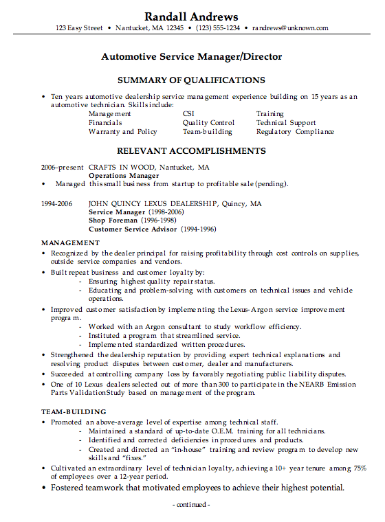 combination resume example automotive service manager  c