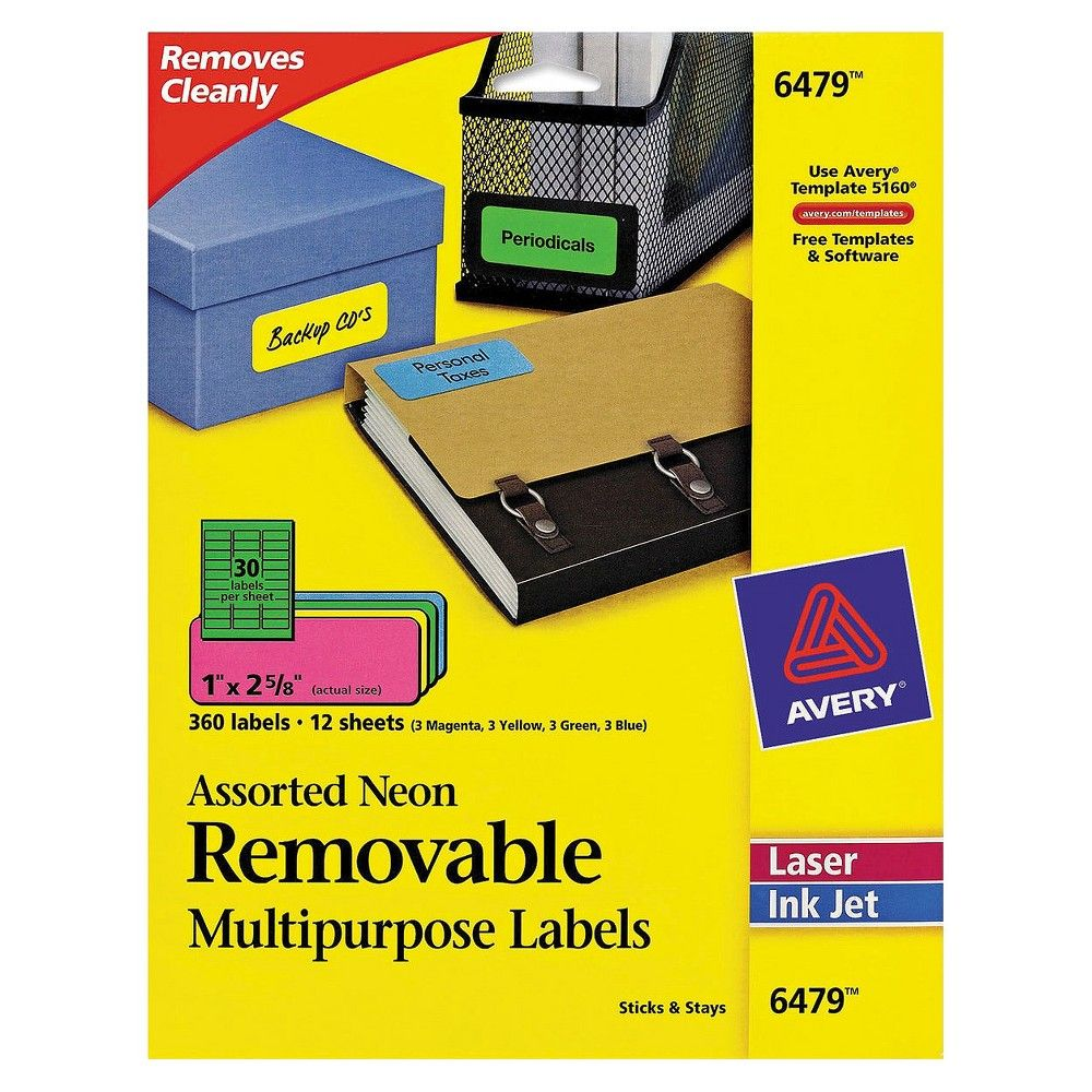 Avery 06479, High Visibility Laser Labels, 1 x 2 5/8, Assorted Neon ...