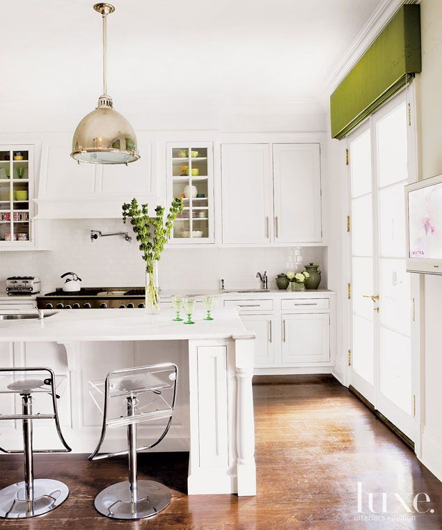 Kitchen With French Doors: Clean Surfaces, Sleek Yet Utilitarian Hardware And A