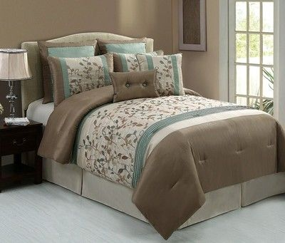 8pc Luxury Bedding Comforter Set Anastasia Taupe Aqua Beige Ebay