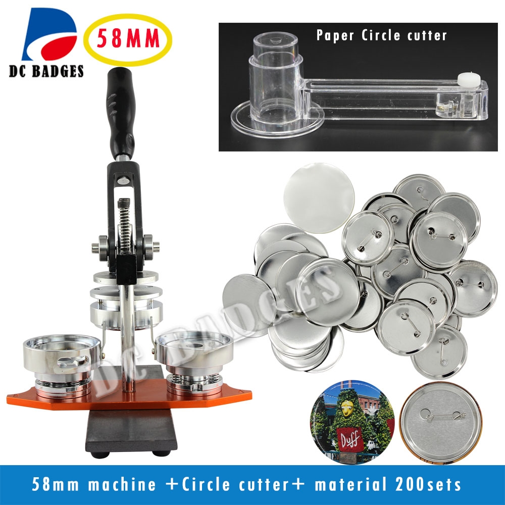 """299.00$  Buy here - http://alifz9.worldwells.pw/go.php?t=32487628850 - """"Free Shipping High Quality 2-1/4"""""""" 58mm Badge Button Maker Machine +Circle Cutter+200 Sets Metal Pinback Supplies"""""""